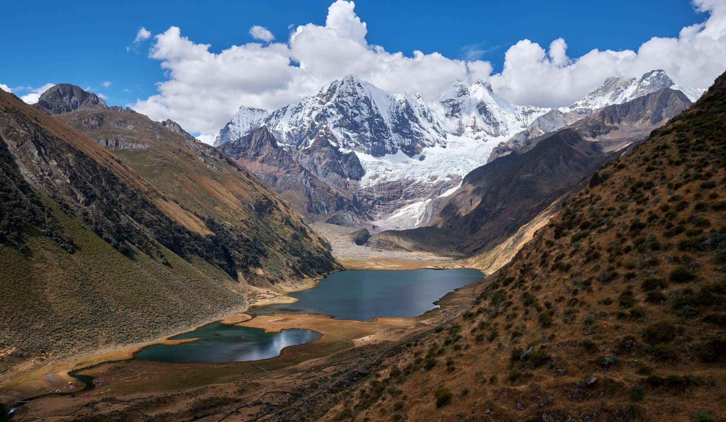 Snow capped mountains and lakes in Cordillera Huayhuash in Peru