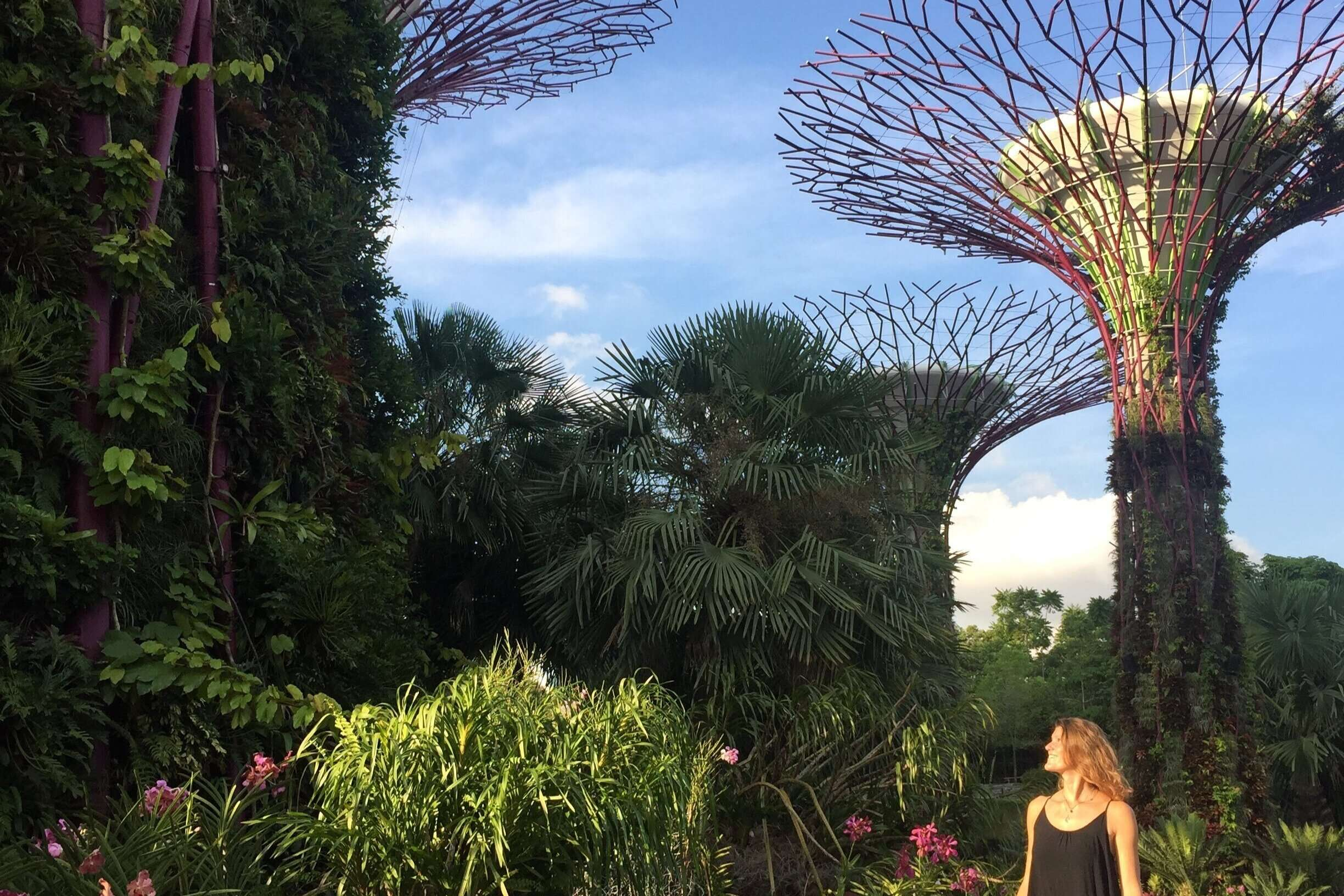 Woman walking through Gardens by the Bay in Singapore