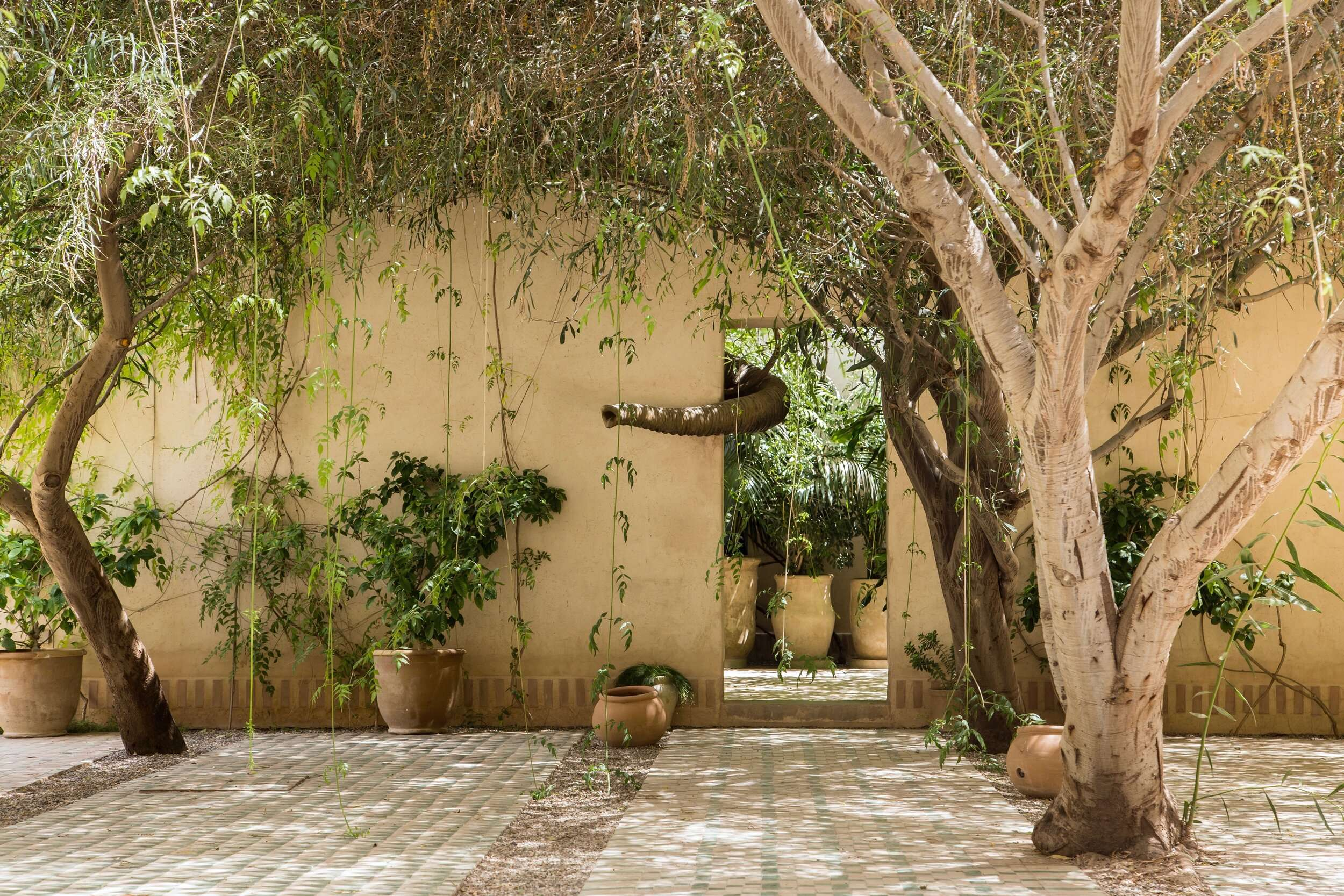 doorway in an outside wall with an elephant trunk art installation. surrounded by trees and plants, at dar el sadaka in Marrakech
