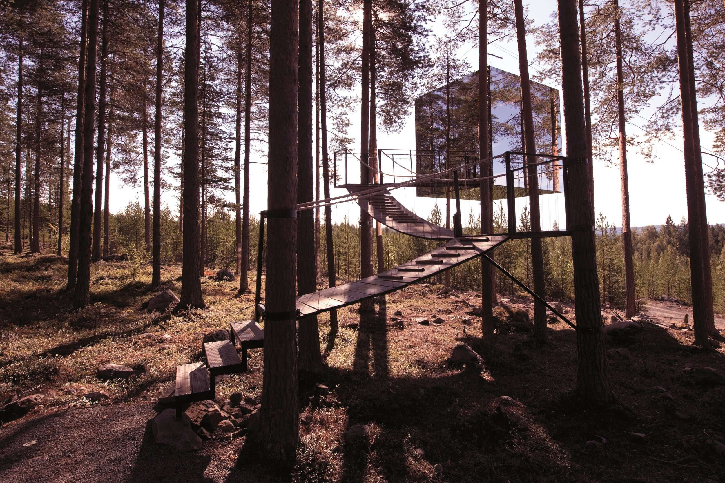 wooden walkway leads up to a mirrored cube suspended in the trees at Treehotel Sweden