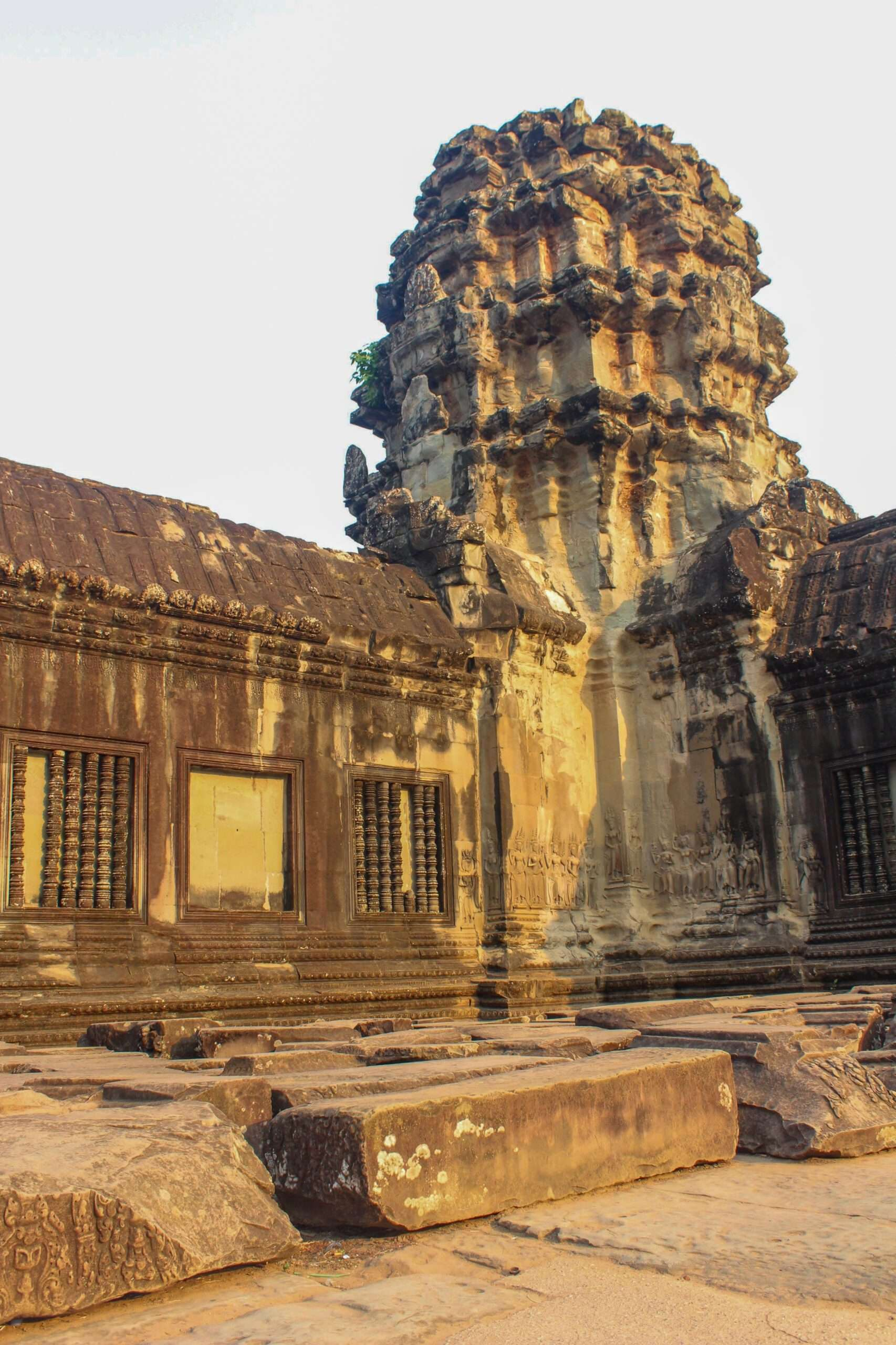 corner of the Angkor Wat temple, seen at sunrise