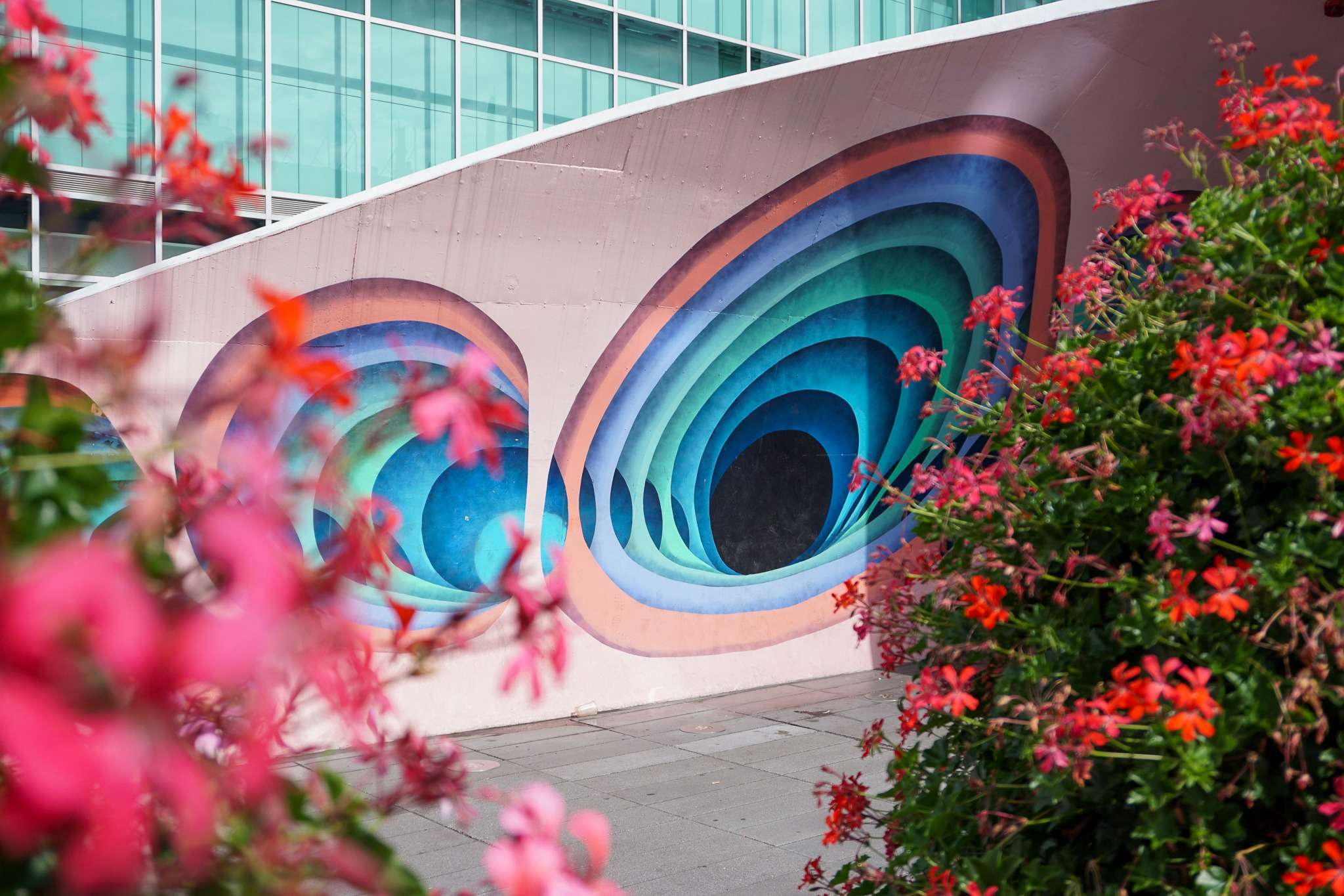 pink and blue patterned street art in Eindhoven city centre