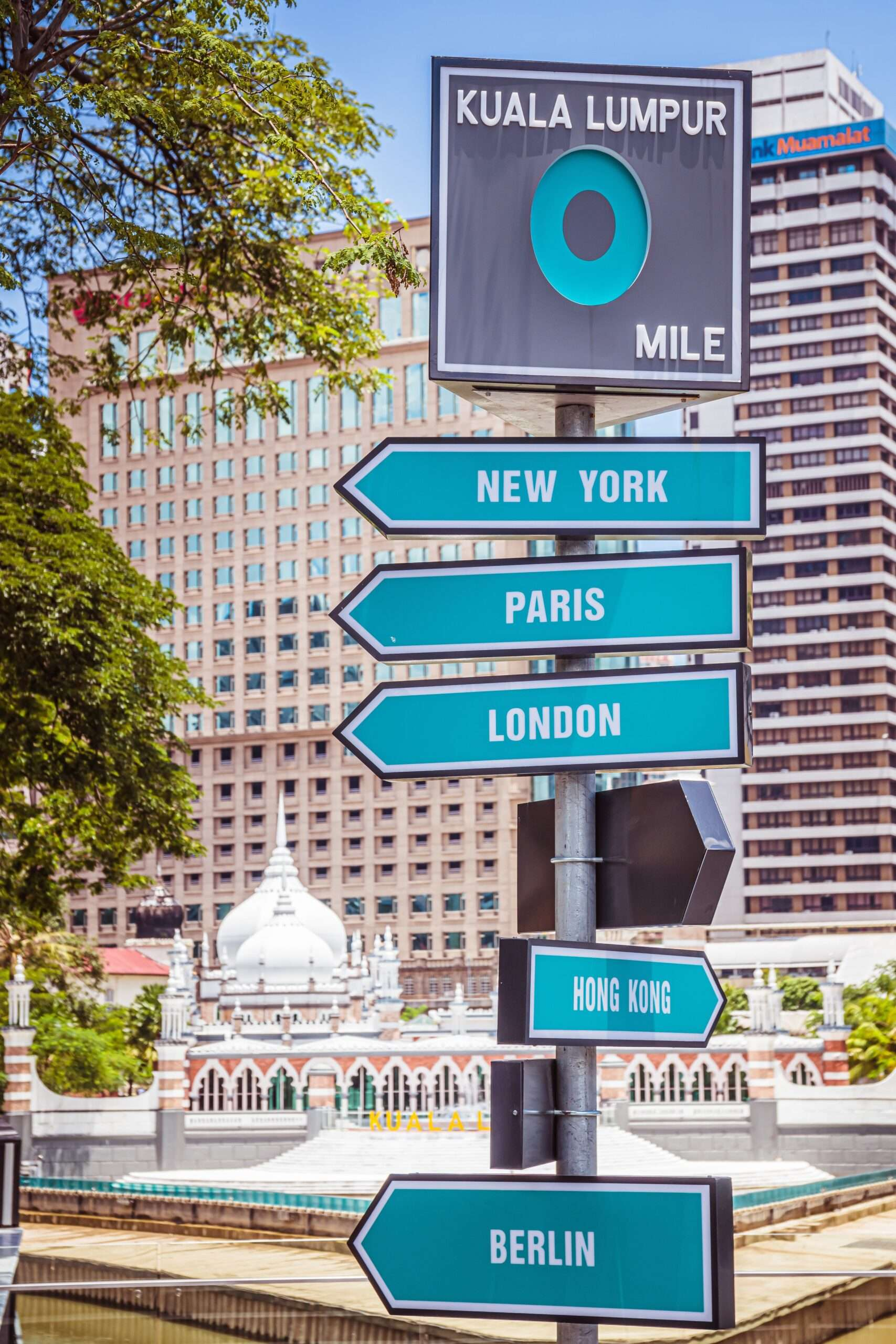sign showing distance to other cities, in Kuala Lumpur