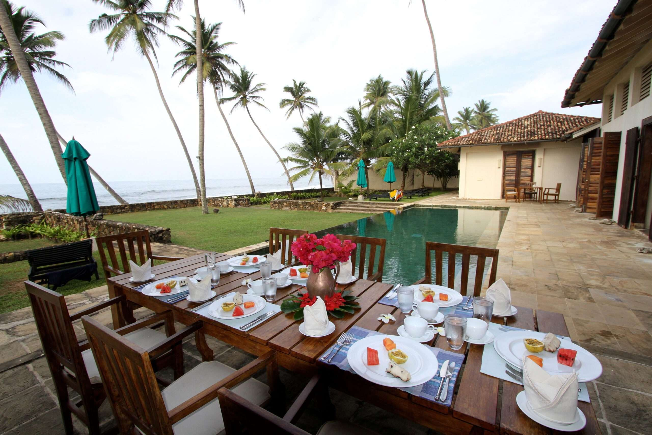outdoor dining table at Ambalama Villa Sri Lanka