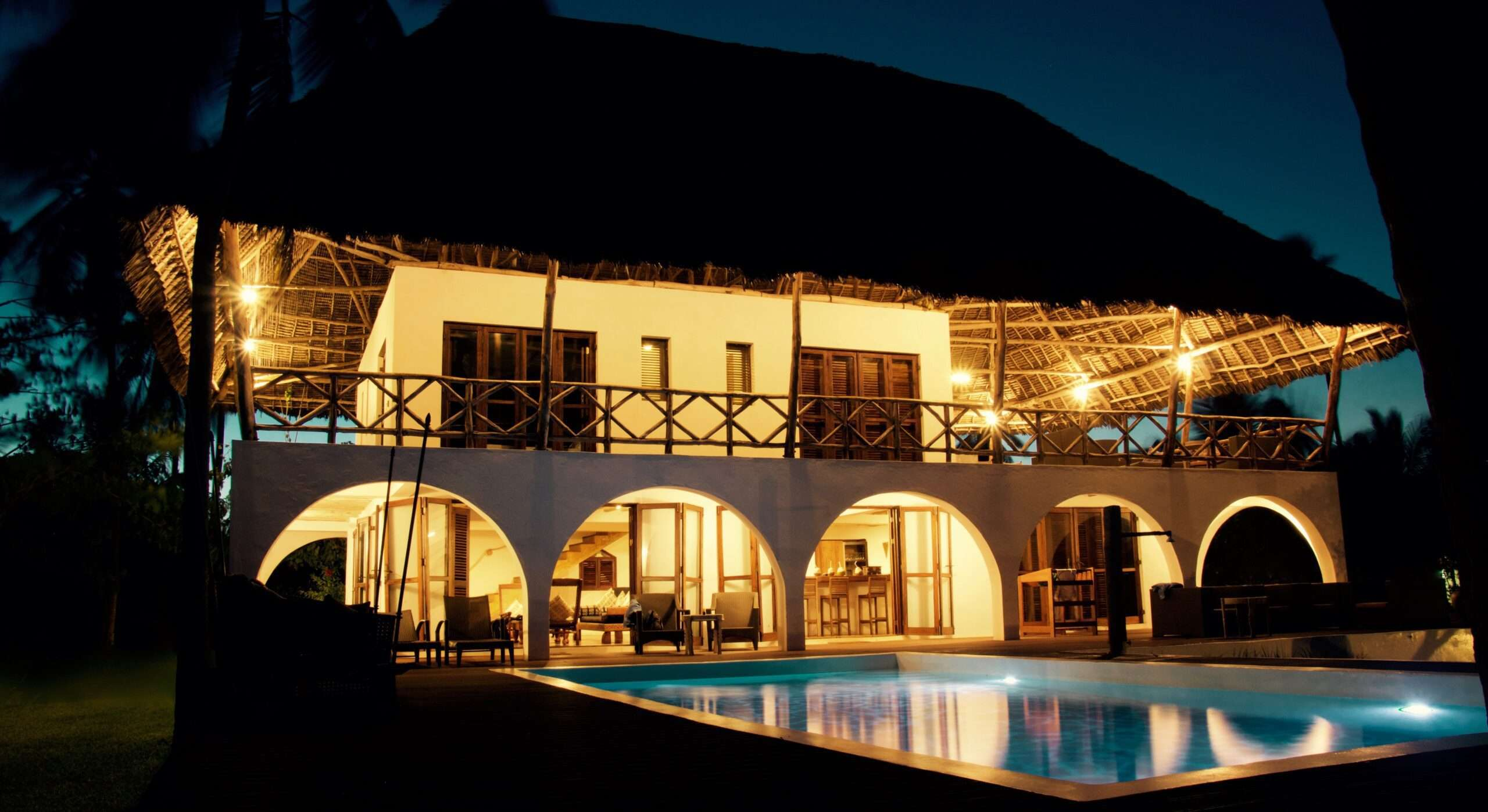 Turquoise Beach Villa Zanzibar at night