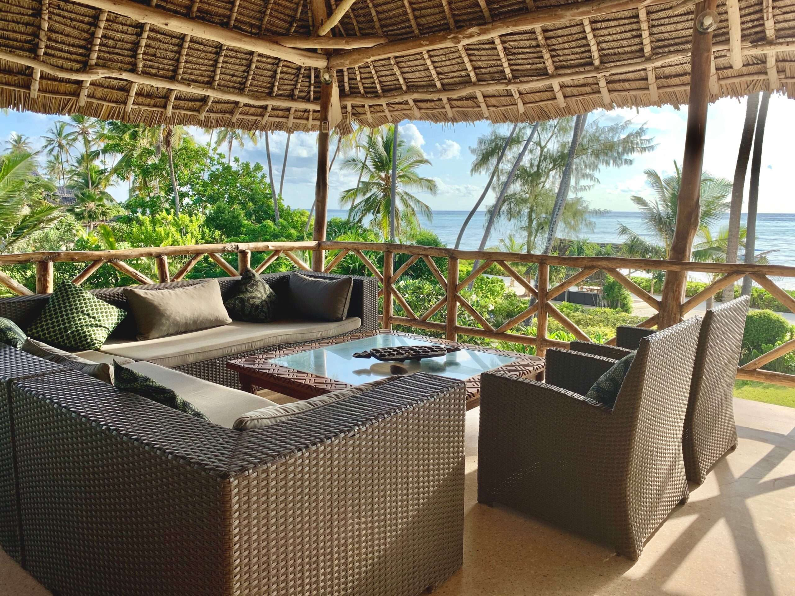 seating area under shade, overlooking the sea at Turquoise Beach Villa Zanzibar