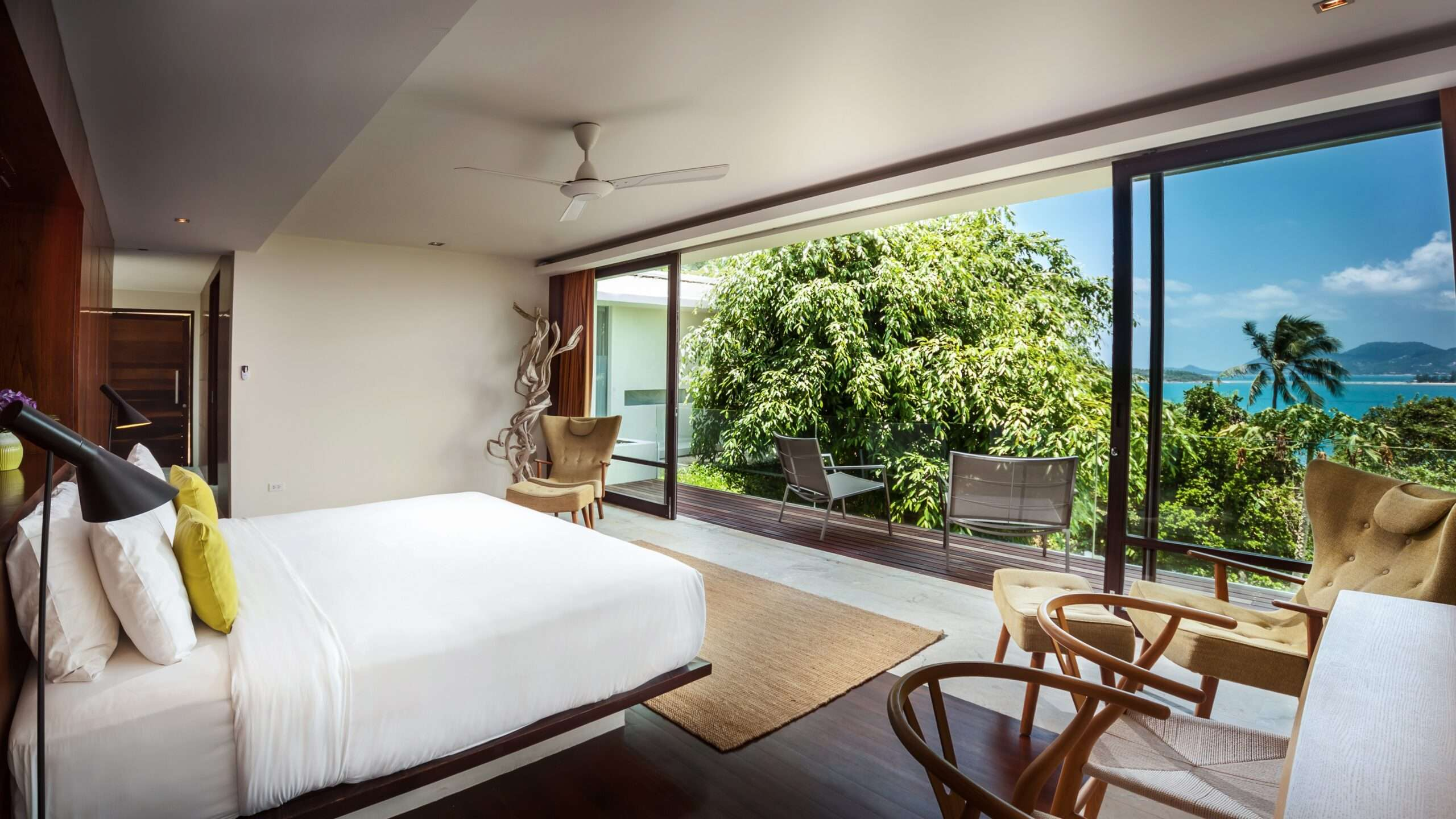 expansive sea views from the bedroom at Villa Hin Koh Samui