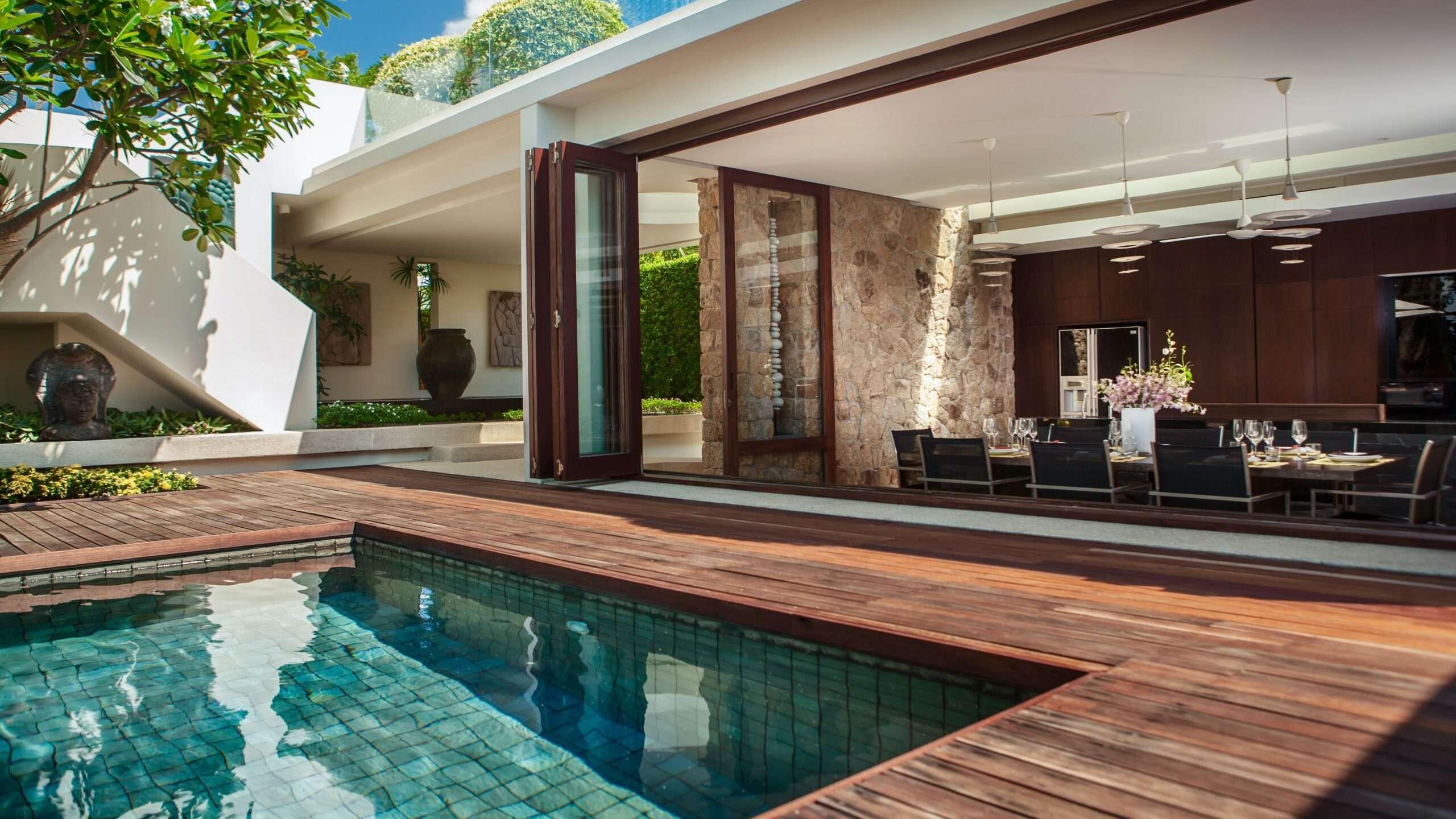 dining area overlooking the pool at Villa Hin Koh Samui