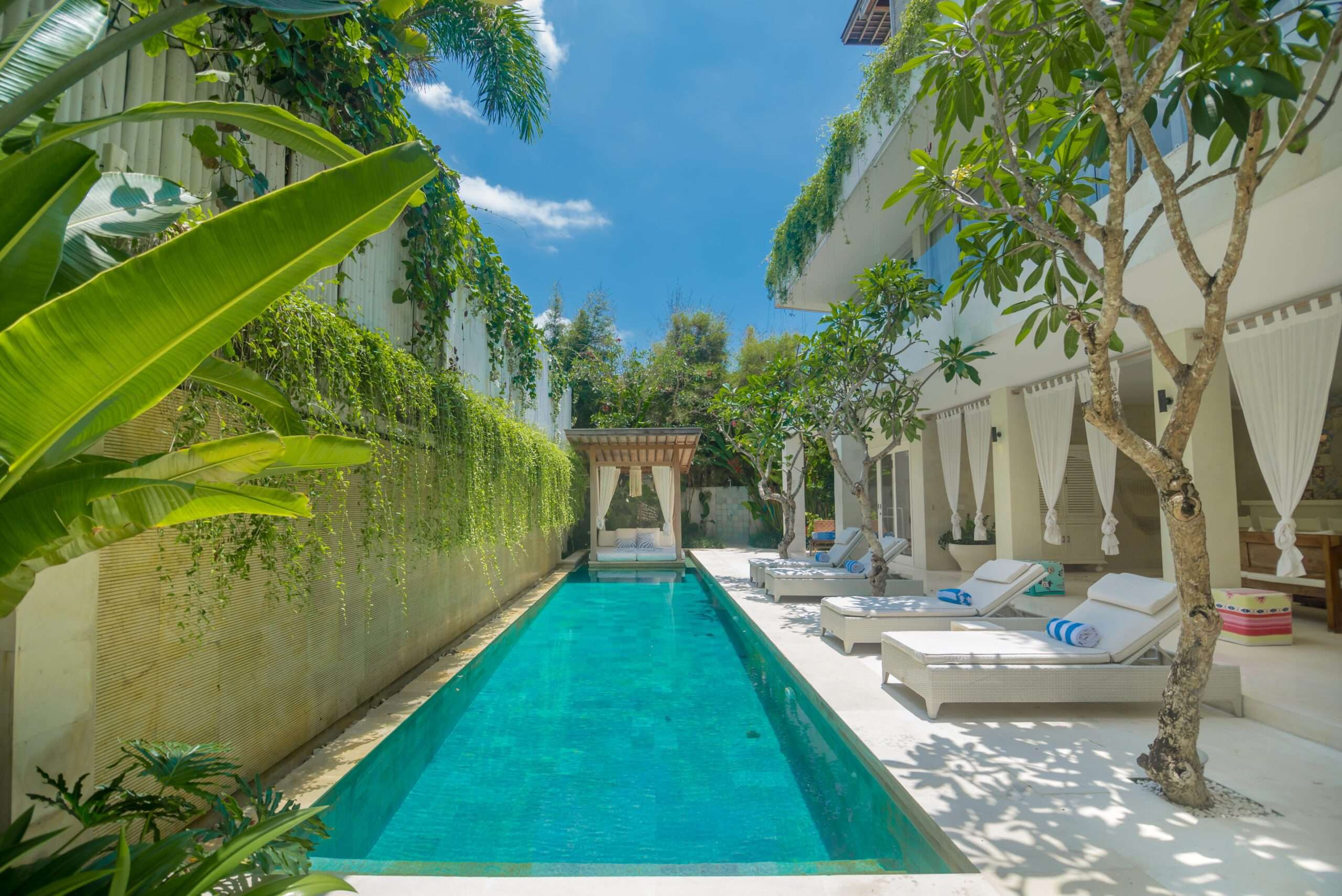 Swimming pool and green lush plants at Villa Savasana in Bali