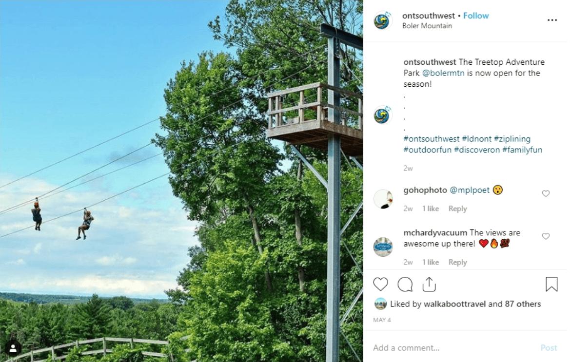 Zipline at Boler Mountain, London, Ontario