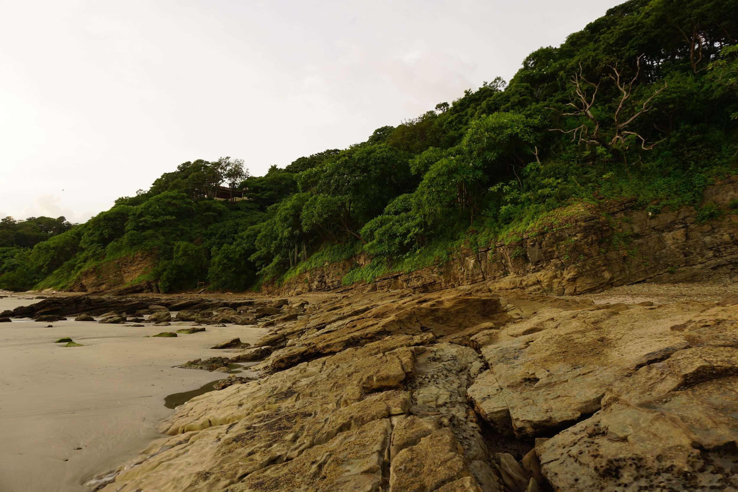 Rugged pacific coast line at Playa Maderas, Nicaragua