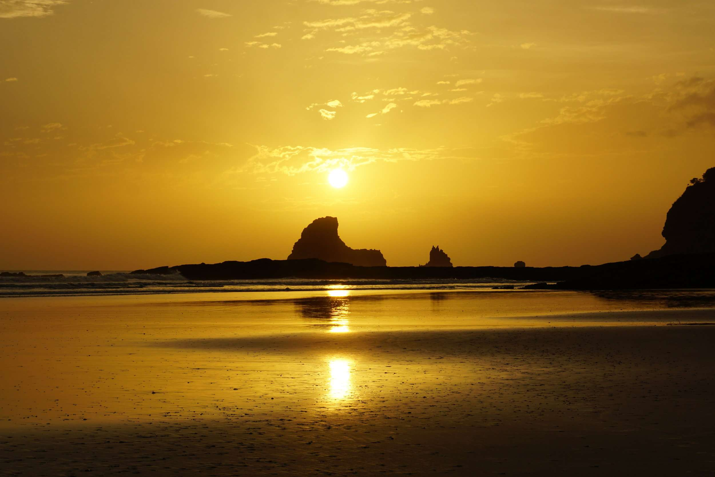 Golden sunset at Playa Maderas in Nicaragua