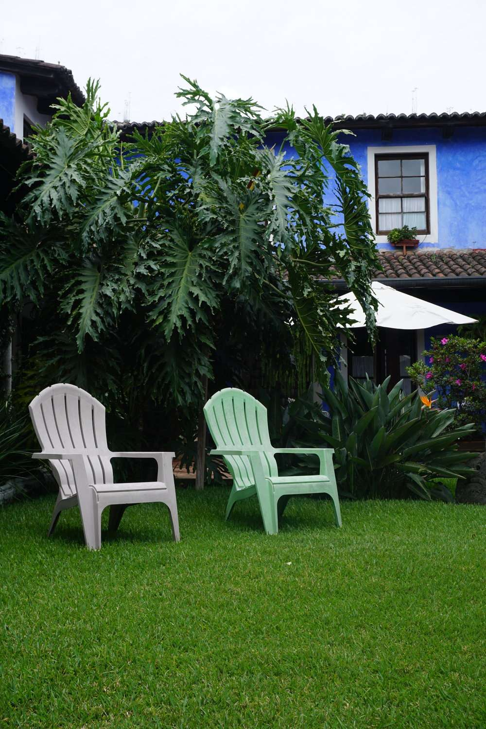 two wooden lounge chairs in the garden at Casa Capuchinas