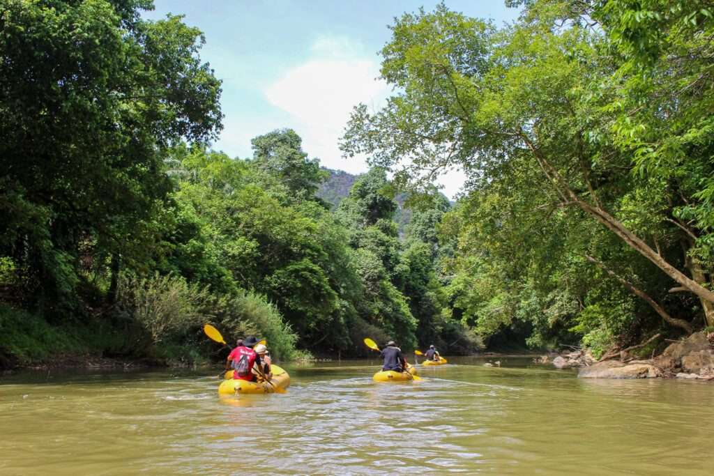 group kayak down a river through the rainforest during an adventure with Elephant Hills Thailand