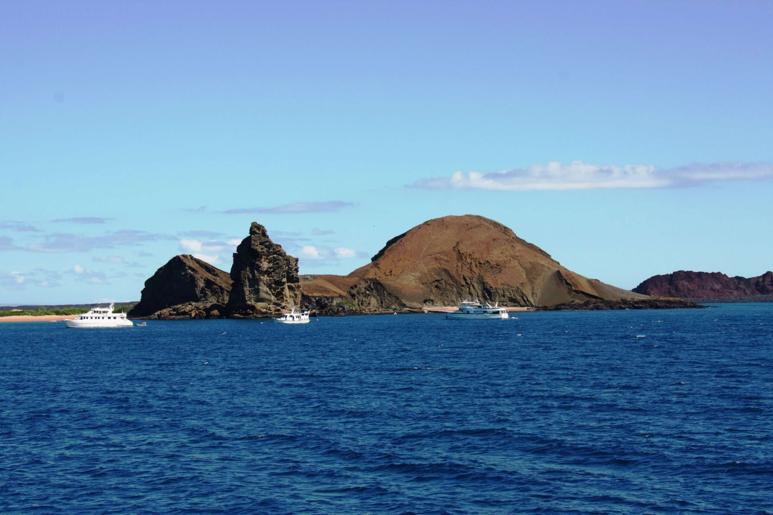 view of an island from the sea during Galápagos island travel