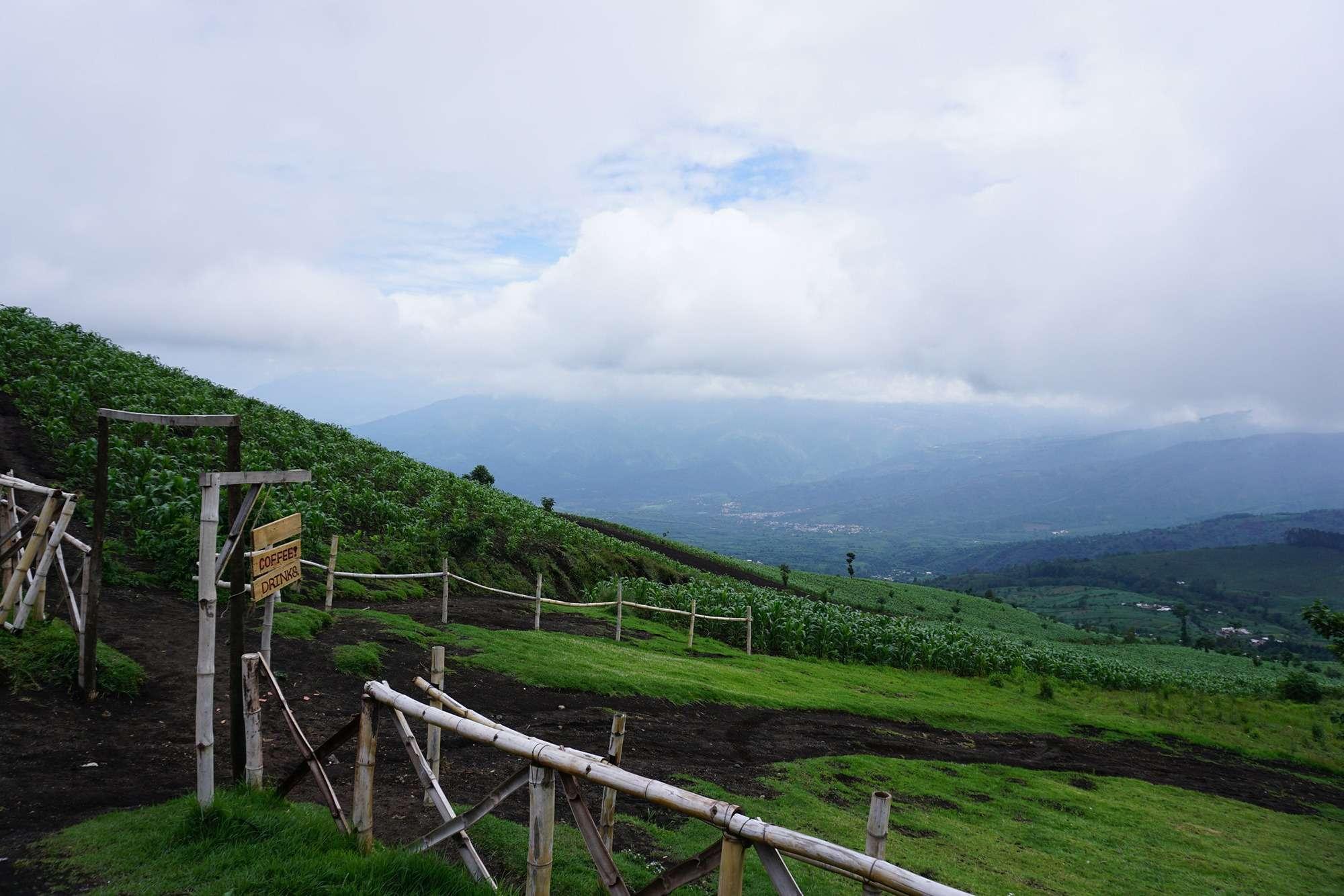 Green farm fields in Guatemala near Acatenango volcano