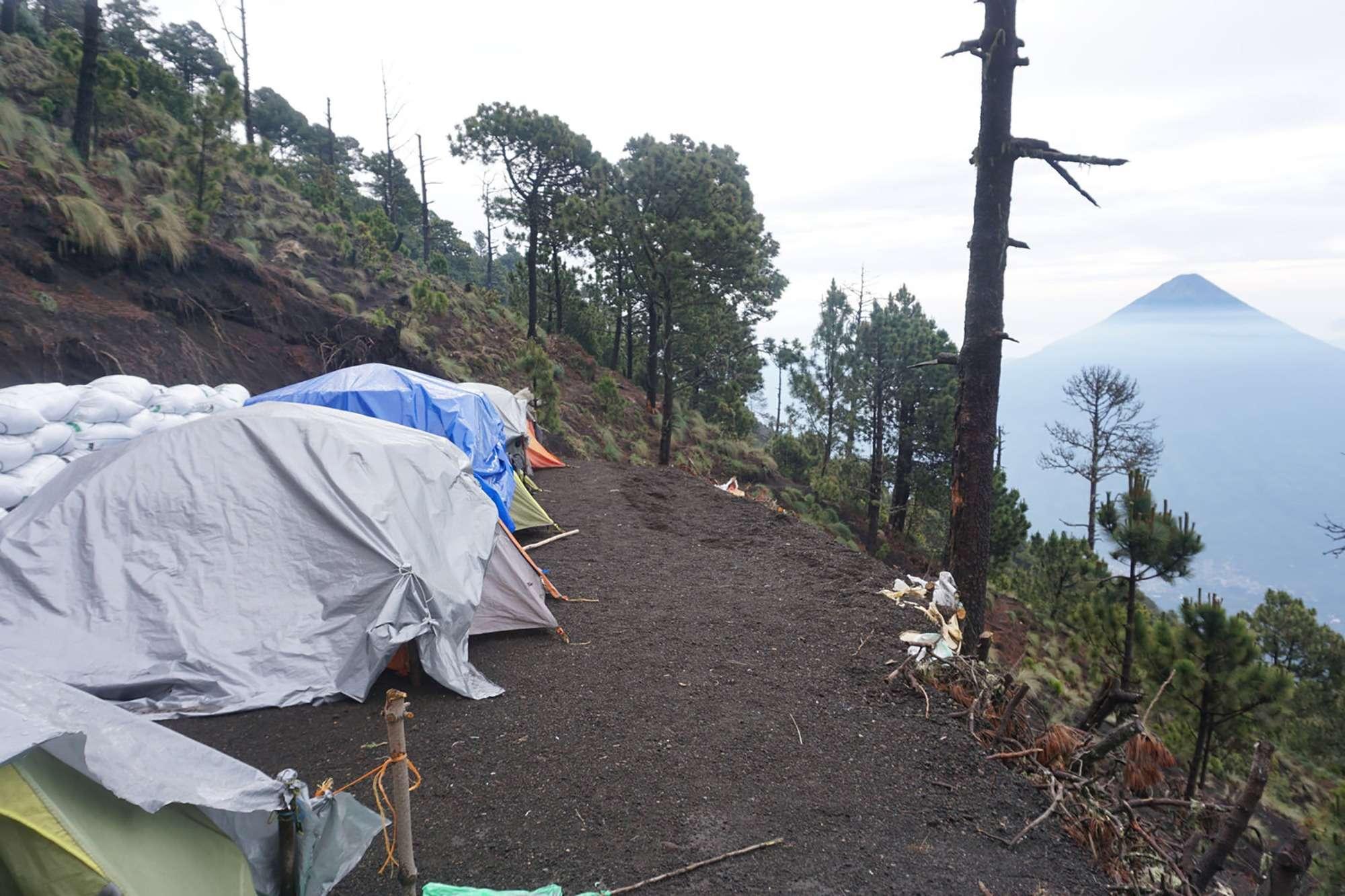 Soy Tours Base camp on Acatenango volcano in Guatemala