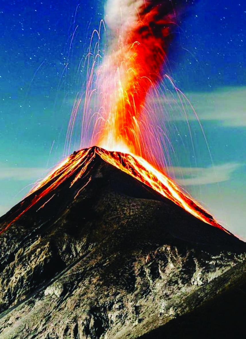 Acatenango Volcano erupting