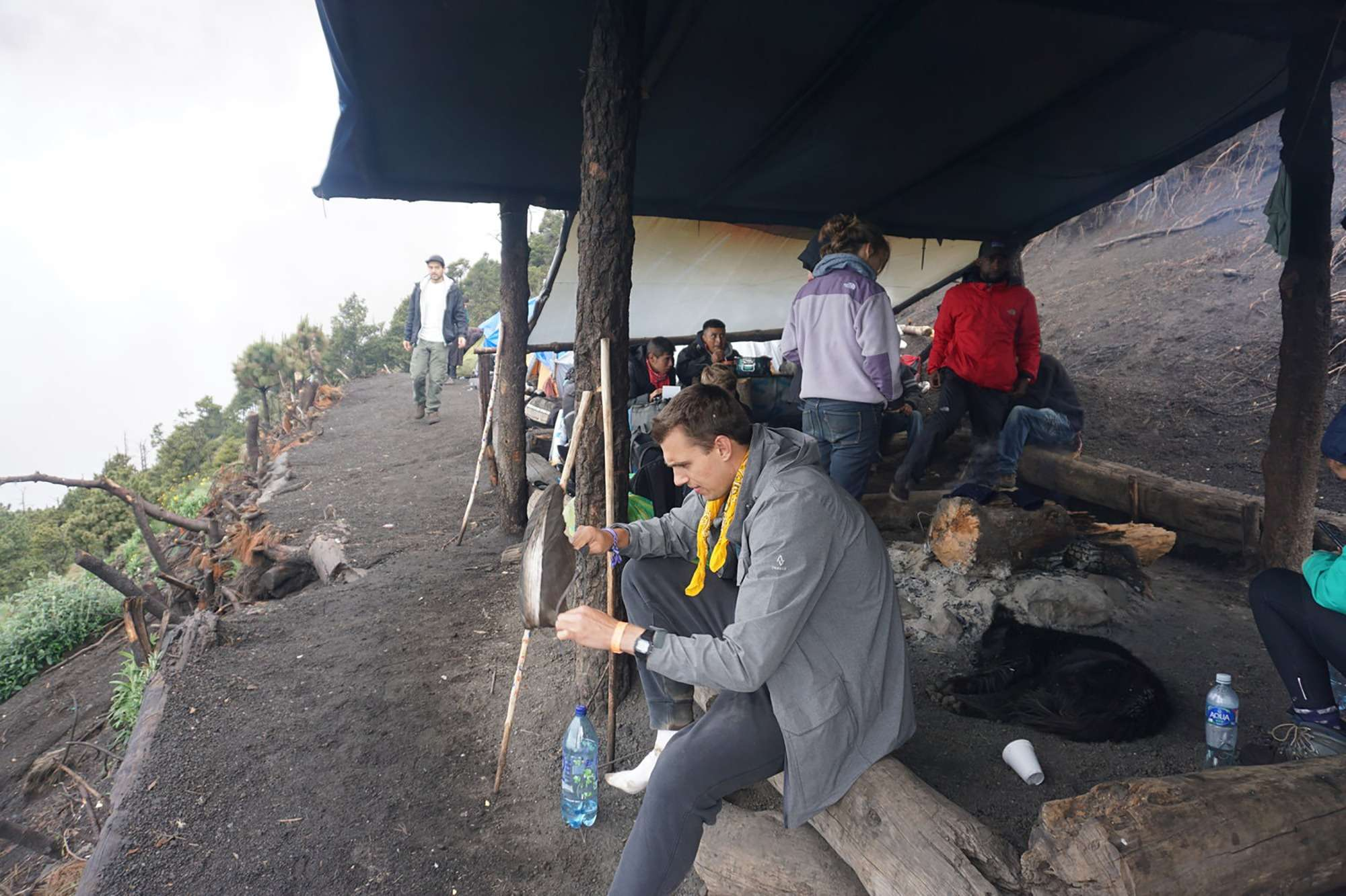 Hikers gather at base camp on volcano Acatenango