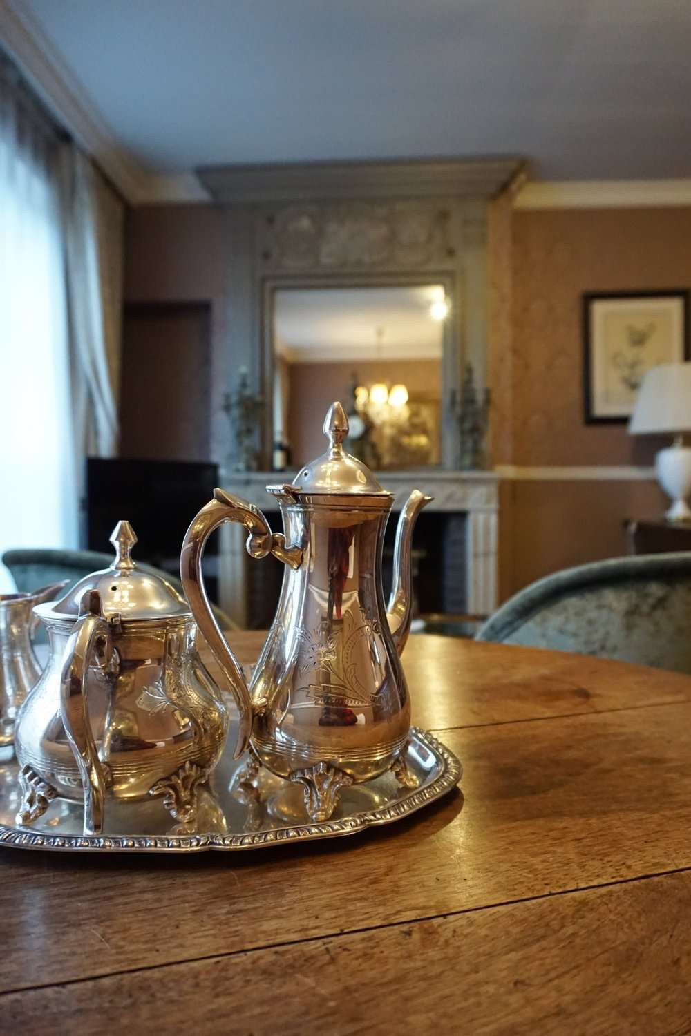 Classical tea set at Hotel Die Swaene in Bruges