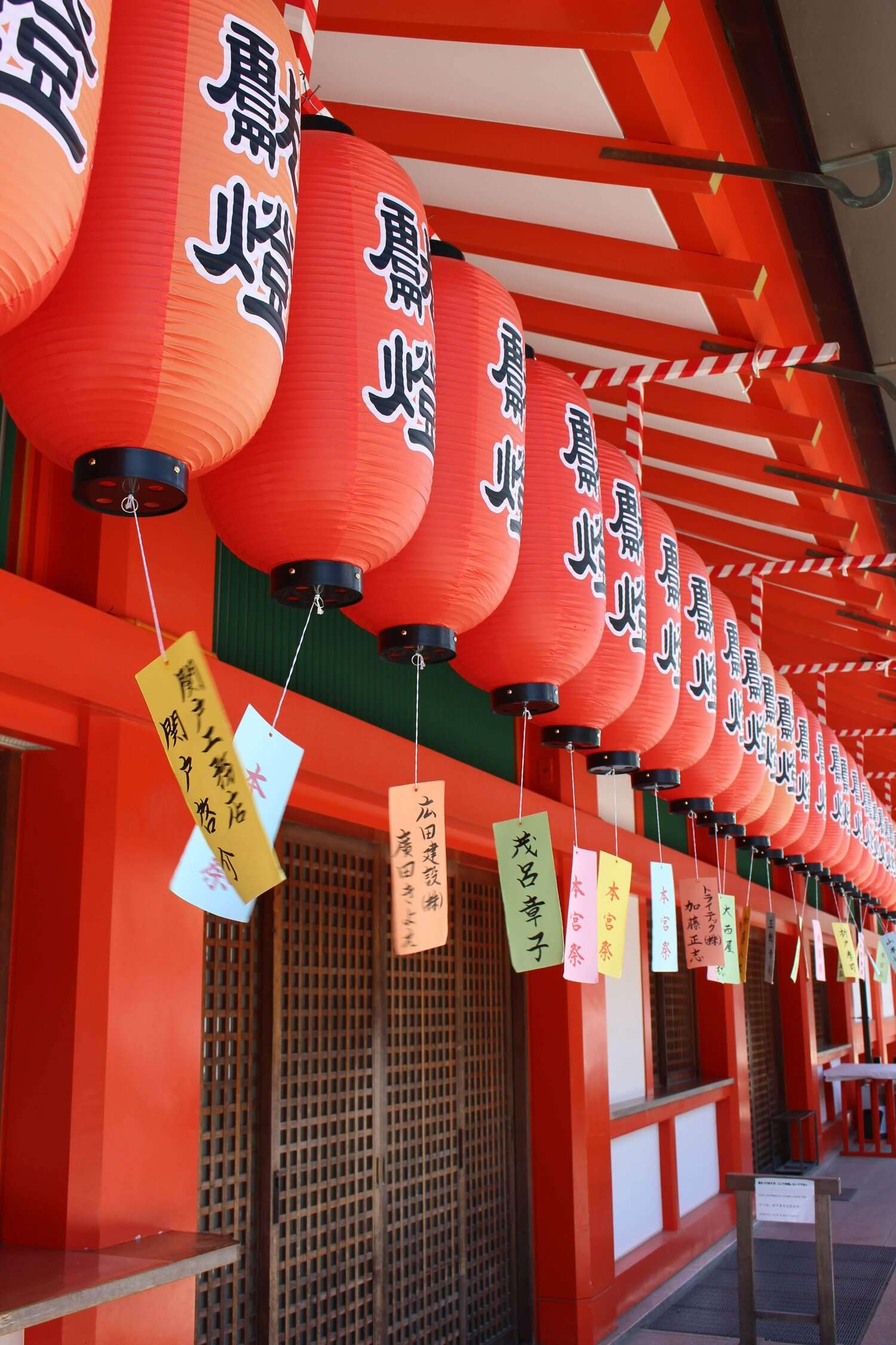 red lanterns with Japanese symbols hang at the edge of a temple in Kyoto