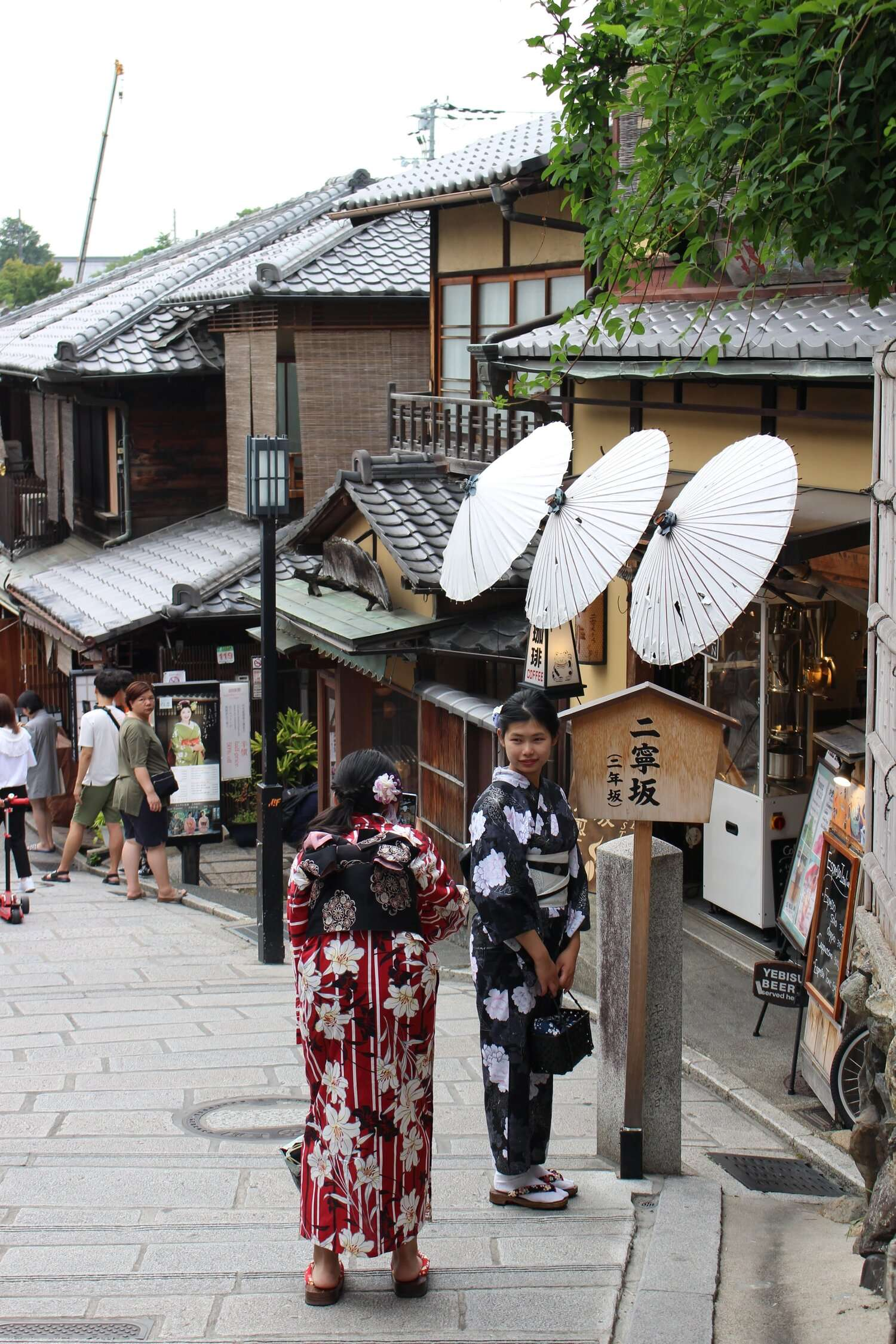 ladies wearing traditional Japanese kimonos walk down the streets in the Gion district of Kyoto