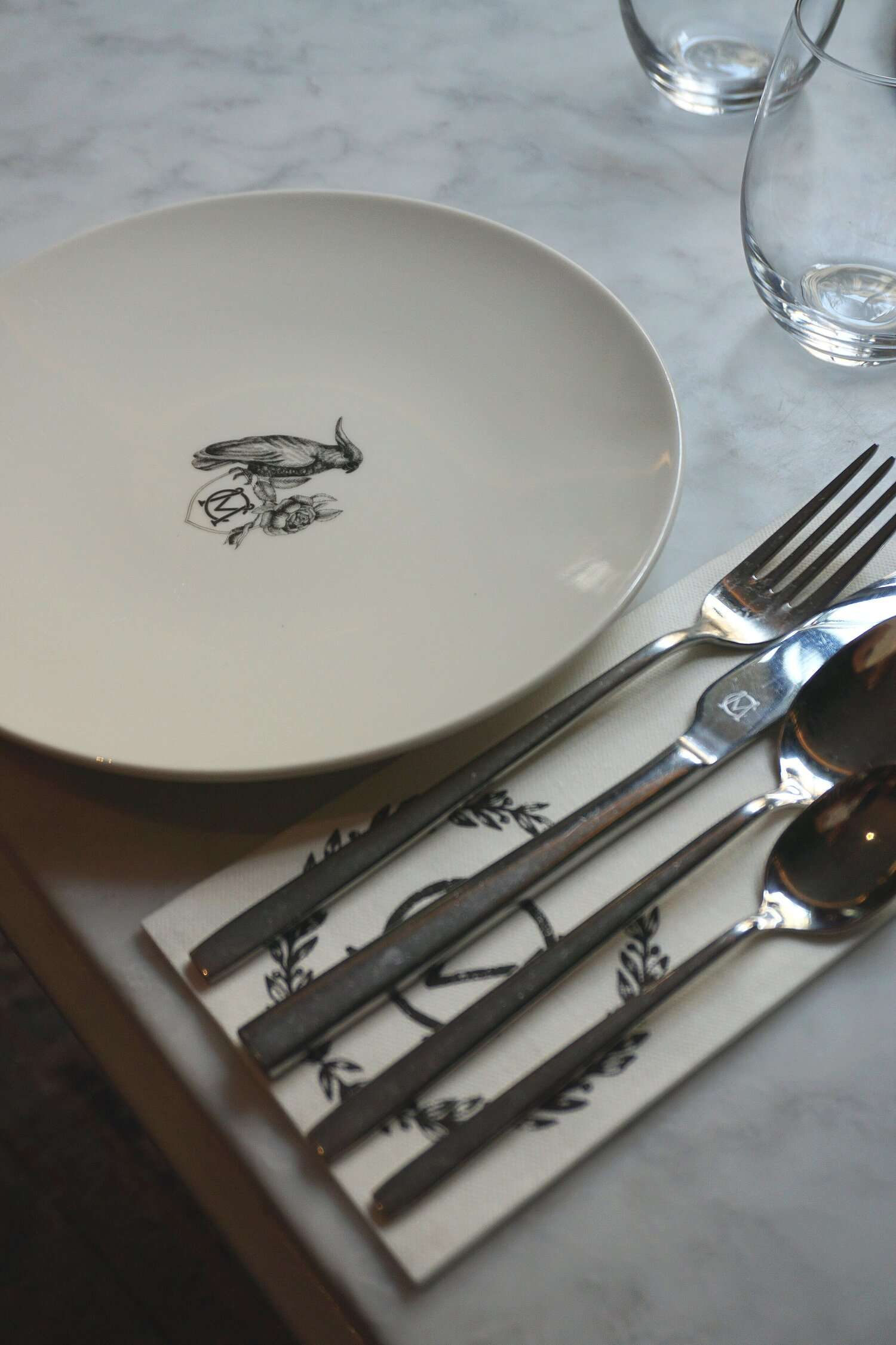 detailed breakfast table setting at Hotel Monte Cristo Paris