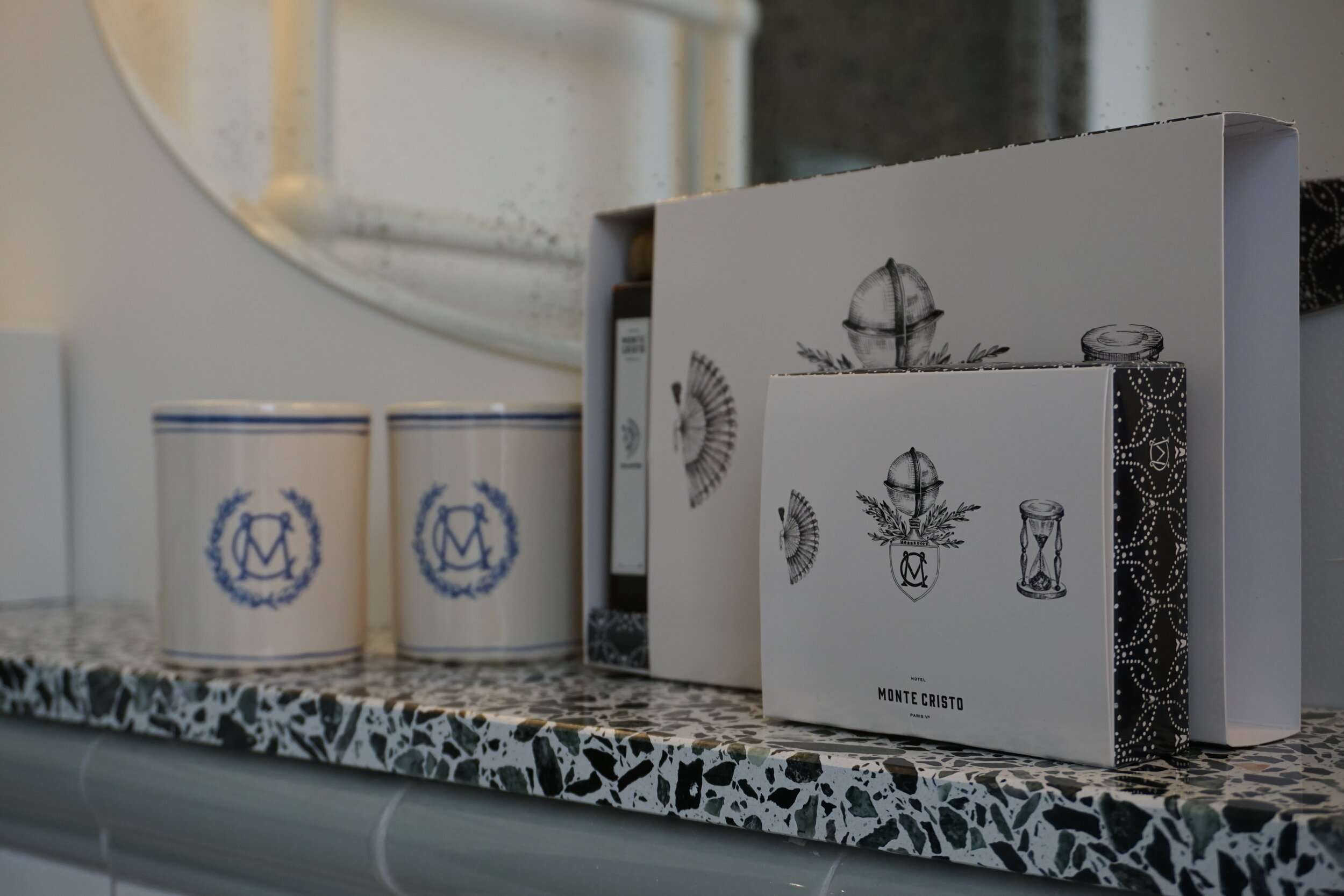 luxury bathing products with hotel brand at Hotel Monte Cristo Paris
