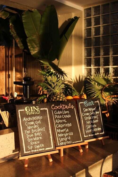 Cocktail Bar drink menu at Frangipani El Nido