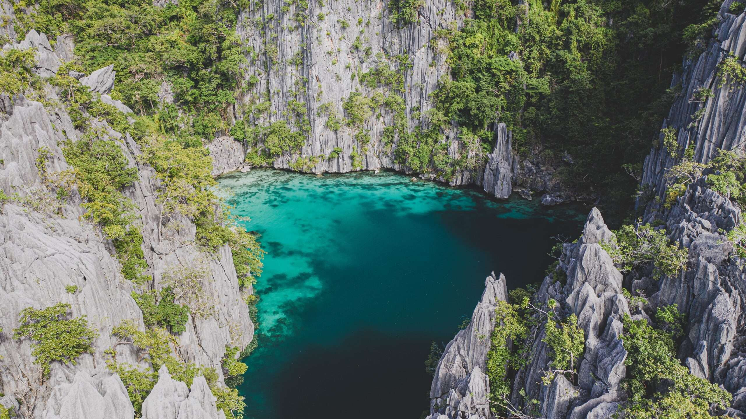turquoise lagoon surrounded by karst rocks, seen on an island hopping tour in coron