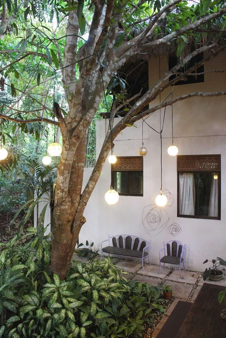 lights hang from a tree inside the courtyard at La Casita de Baclayon in Bohol, Philippines