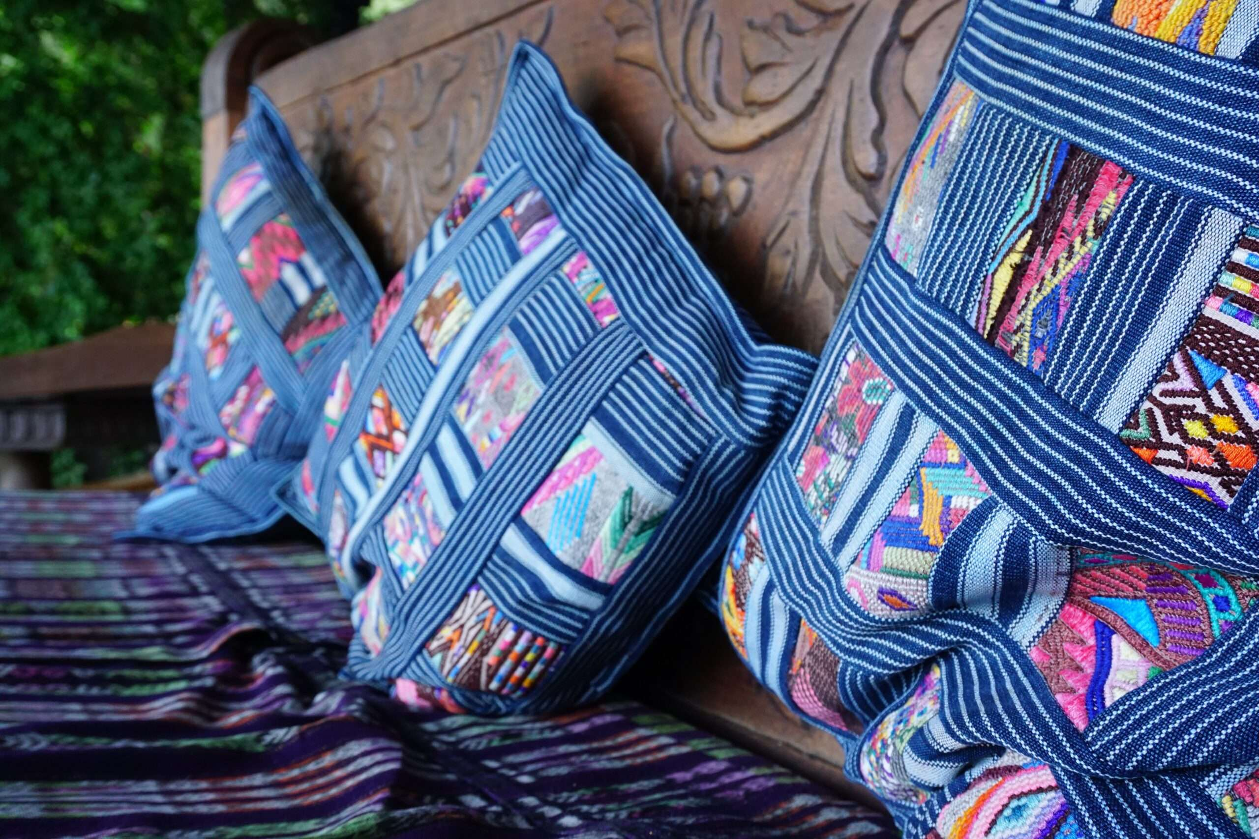 Traditional fabrics at Laguna Lodge Lake Atitlan, Guatemala