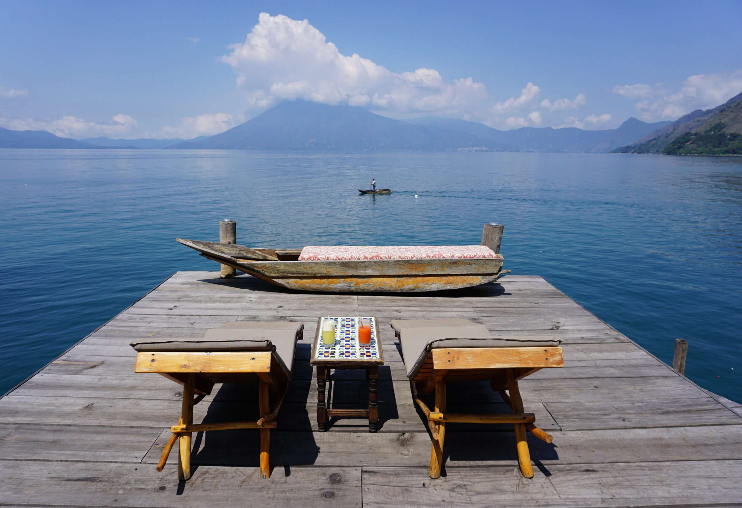 Deck seating at Laguna Lodge dock in Lake Atitlan