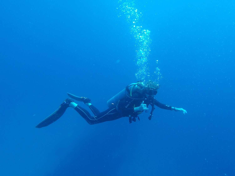 scuba diver underwater in Utila