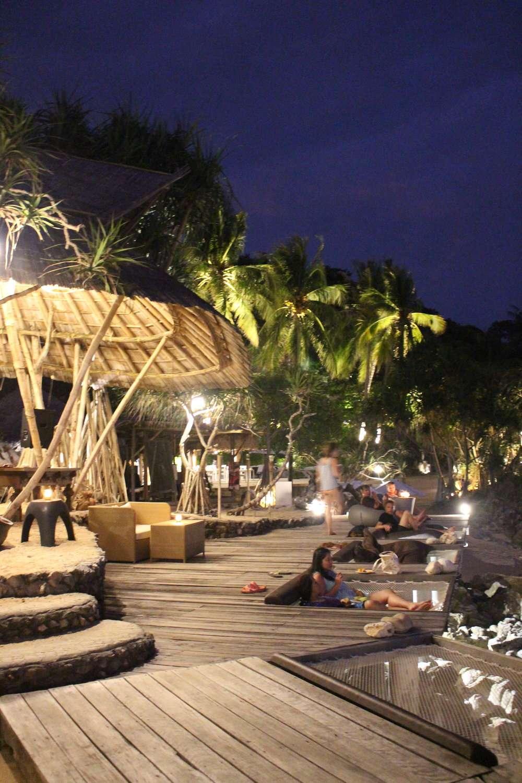 beachfront bar and deck at night, at Moonlight Exotic Bay Resort, Koh Lanta