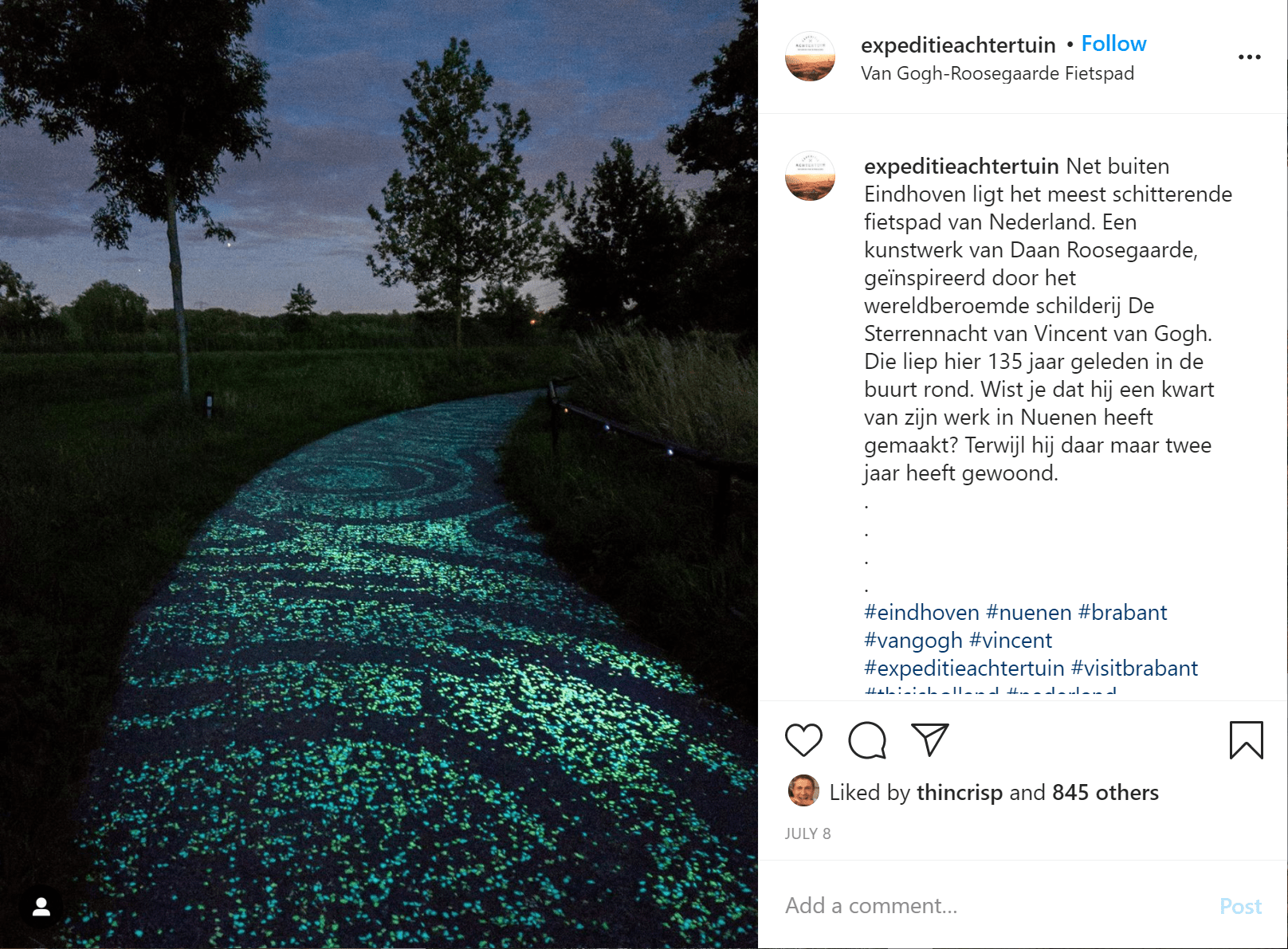 night time, a path is lit with green glowing stones in the pattern of the starry night painting by vincent van gogh