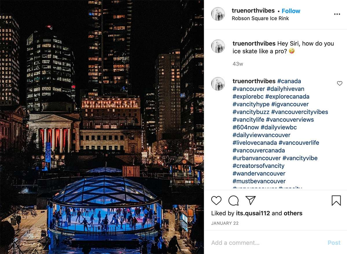 nighttime at Robson Square ice rink in Vancouver