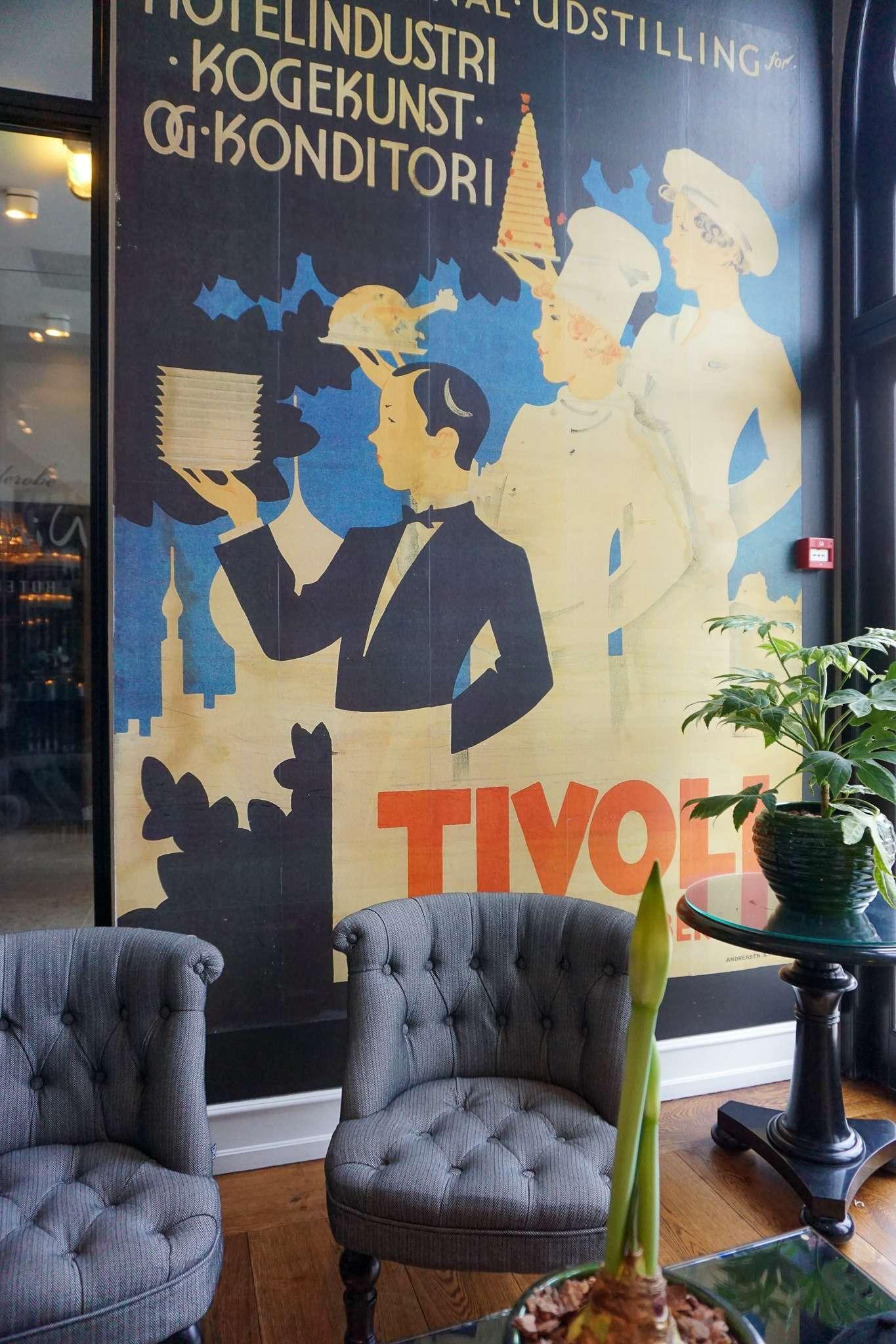 Tivoli Gardens themed artwork on the wall of the restaurant in the Nimb Hotel Copenhagen