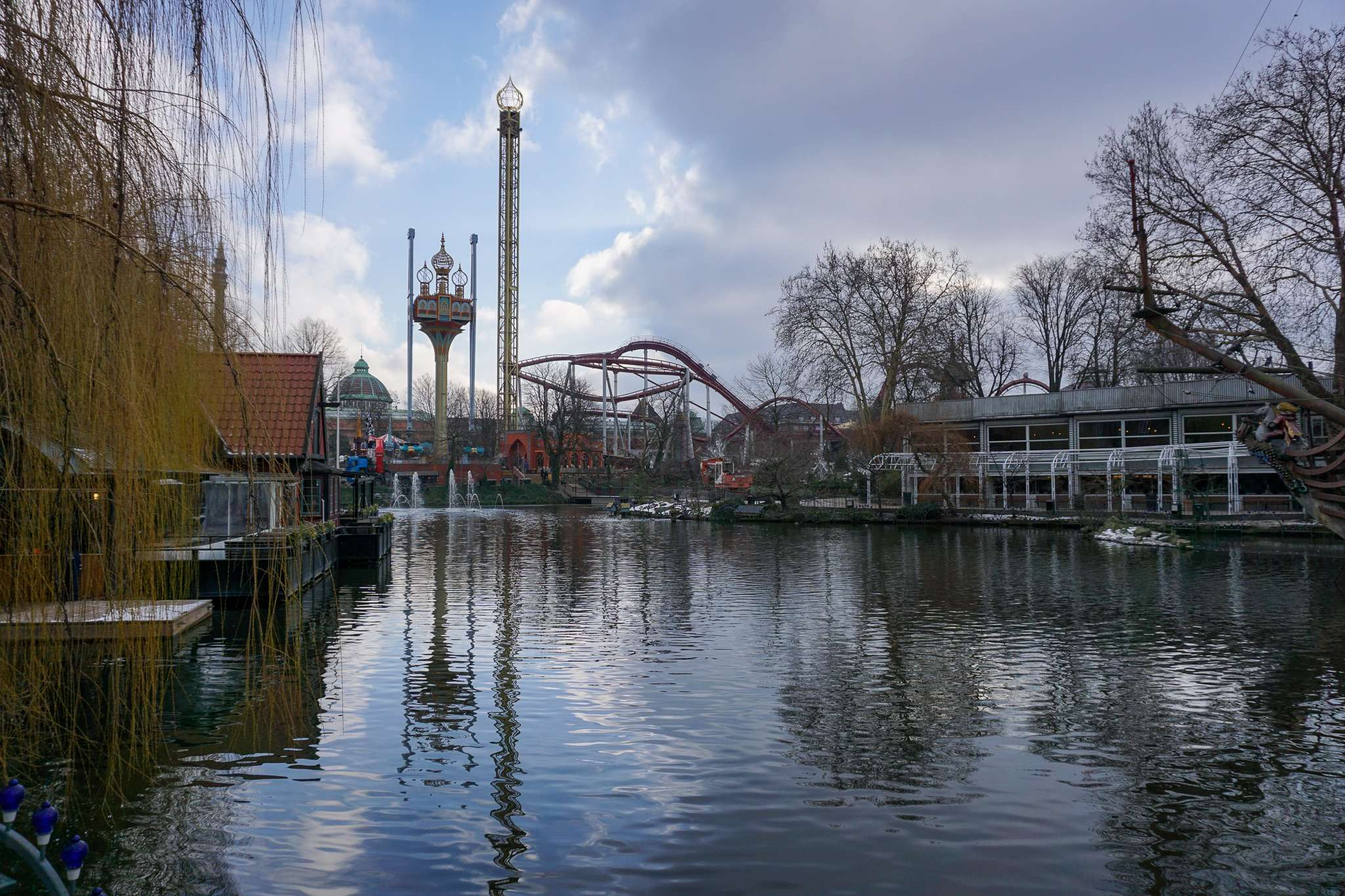 fairground rides at Tivoli Gardens as seen from across the lake