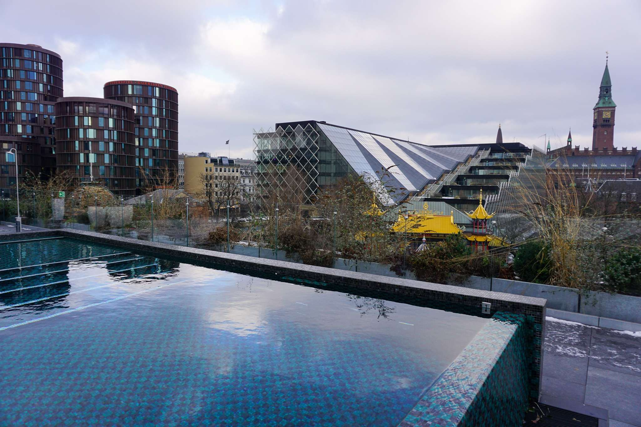 rooftop pool overlooking the city at Nimb Hotel Copenhagen