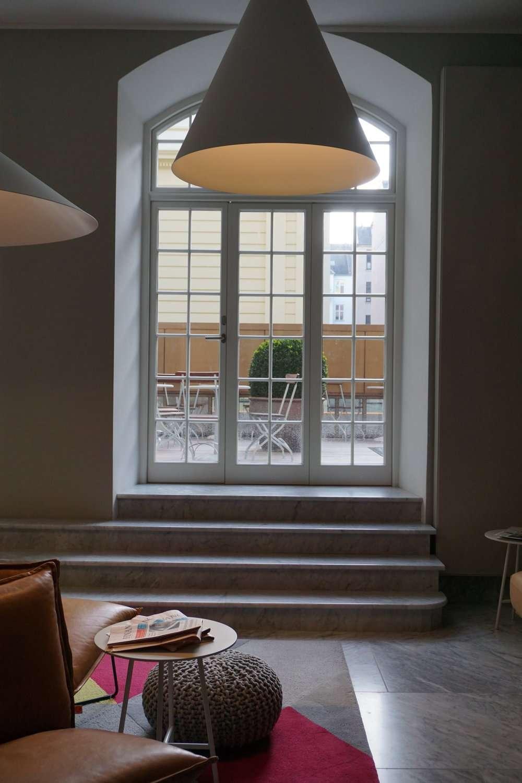 patio doors lead to a terrace at Nobis Hotel Copenhagen