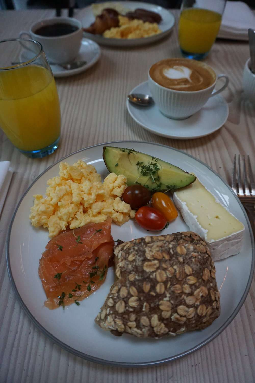 buffet breakfast at Nobis Hotel Copenhagen includes smoked salmon, eggs and cheese