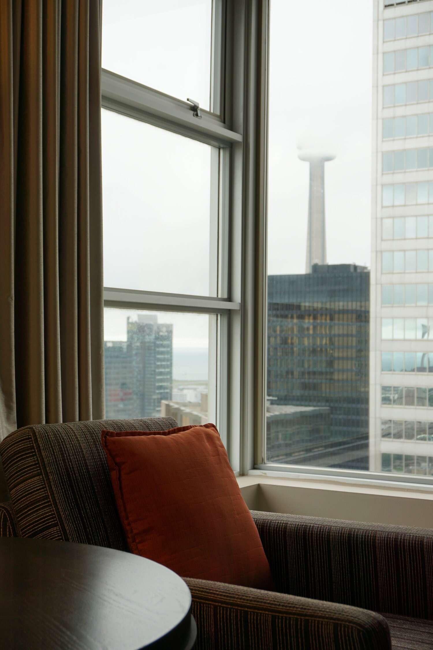 Window seat in One King West hotel room