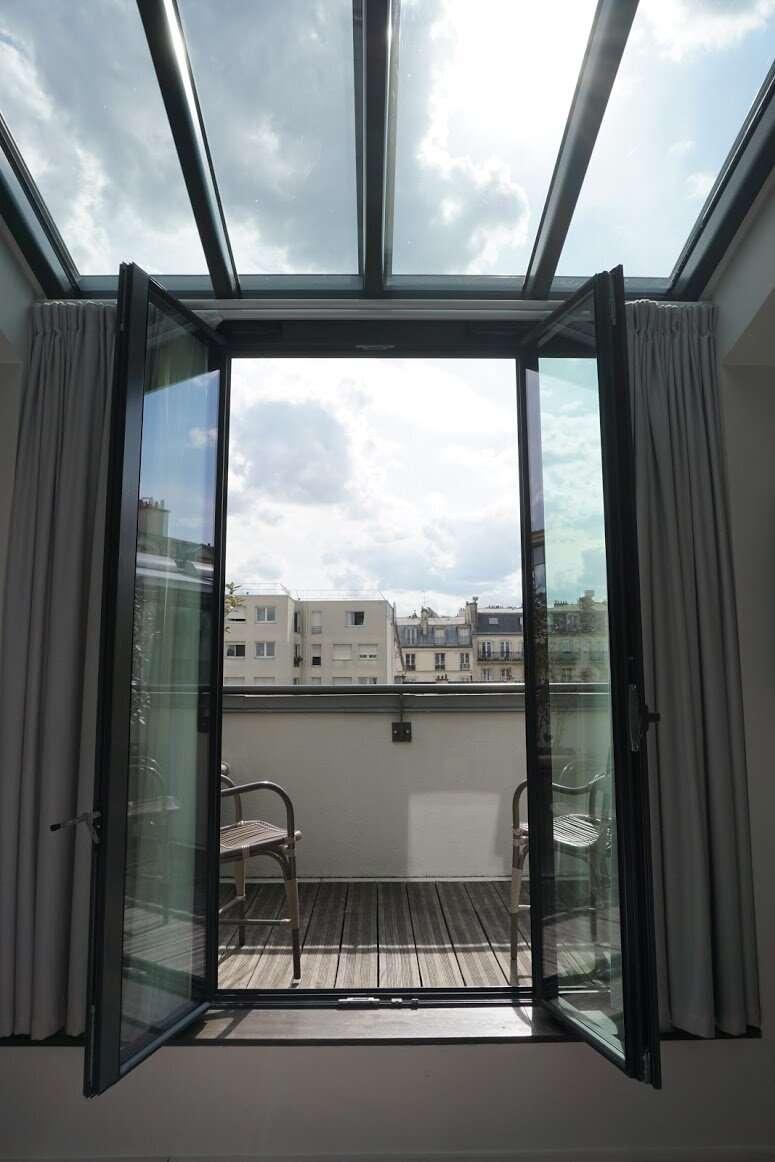 Bedroom Terrace Doors Maison Breguet Hotel Paris