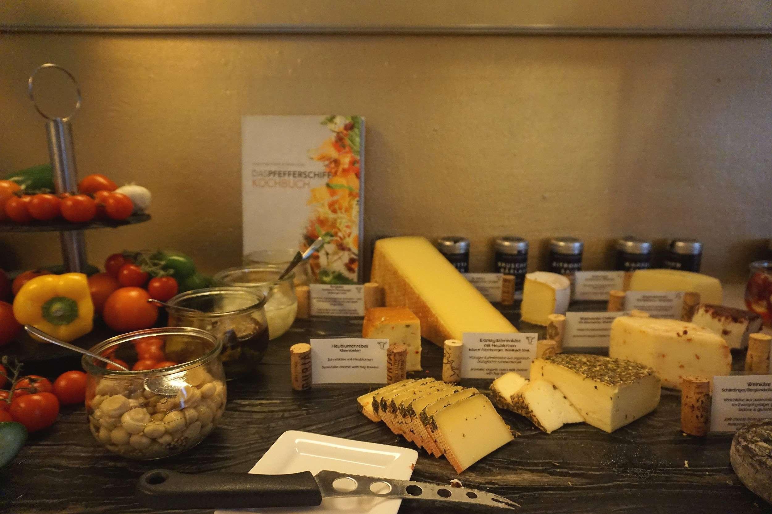 cheese board on the breakfast buffet at Rathaus Wein & Design Hotel Vienna