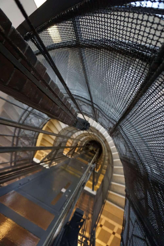 down the elevator shaft at Rathaus Wein & Design Hotel Vienna