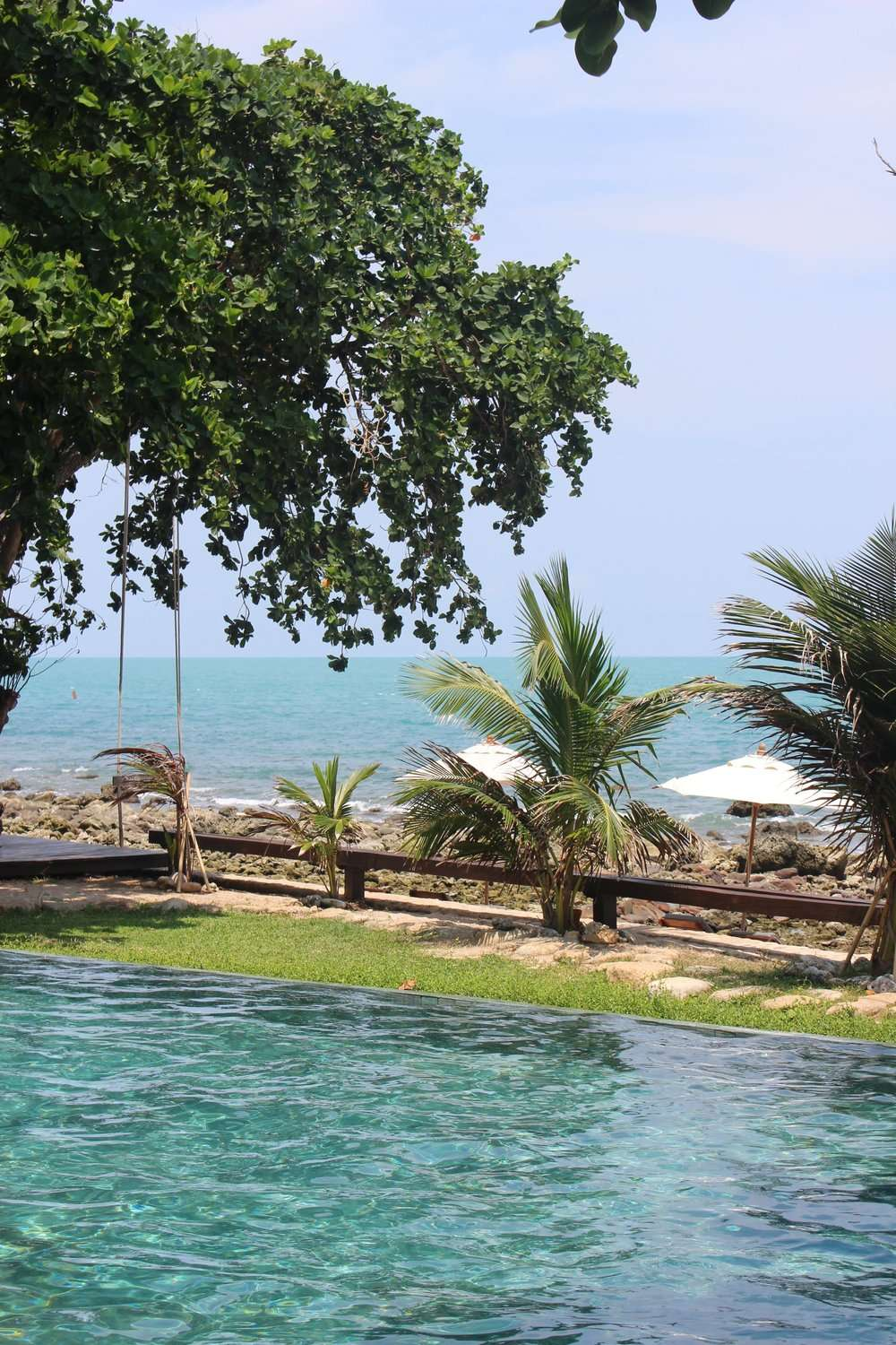 pool and beach view at Sea Dance Resort Koh Samui