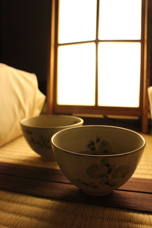 Tea cups at Yoshida Sanso Ryokan in Kyoto, Japan