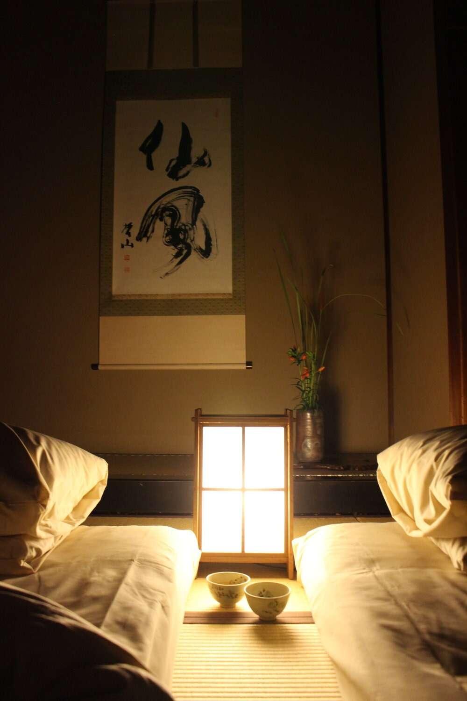 Night time in guest rooms at Yoshida Sanso Ryokan in Kyoto, Japan