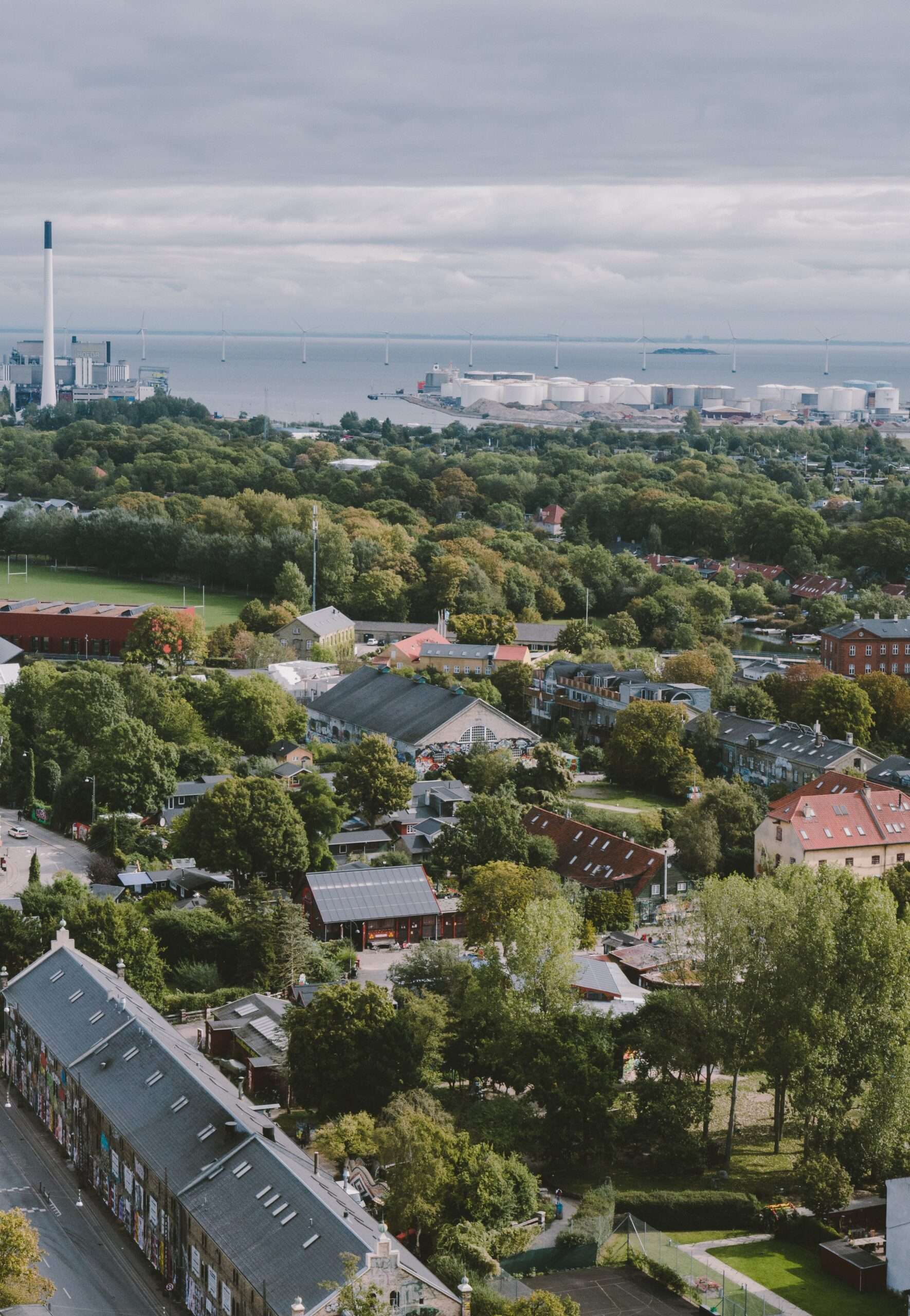 Aerial view of Freetown Christiania. Visiting here is one of the best things to do in Copenhagen